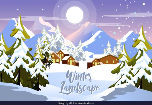 winter landscape background mountain village snowfall moonlight sketch