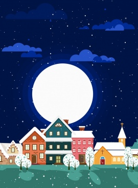 winter landscape background round moon houses icons decor