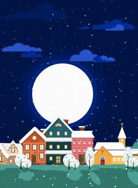 winter landscape background round moon houses icons decor