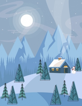 winter landscape background snow mountain moon cottage icons