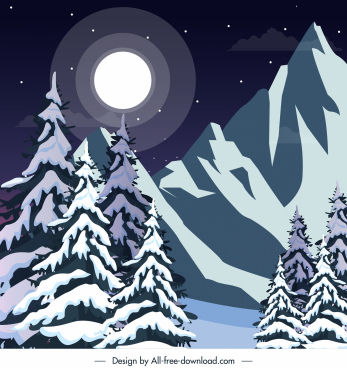 winter landscape background snowy mountain moonlight sketch
