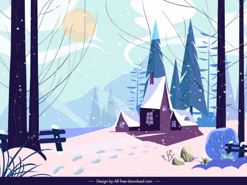 winter landscape painting colored classic decor cartoon design