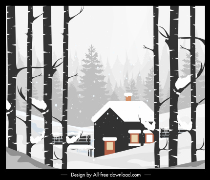 winter landscape painting colored retro decor cottage sketch