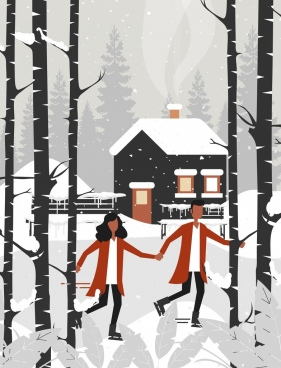 winter landscape painting snowfall couple cottage icons