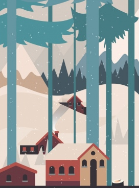 winter landscape painting snowfall houses icons classical design
