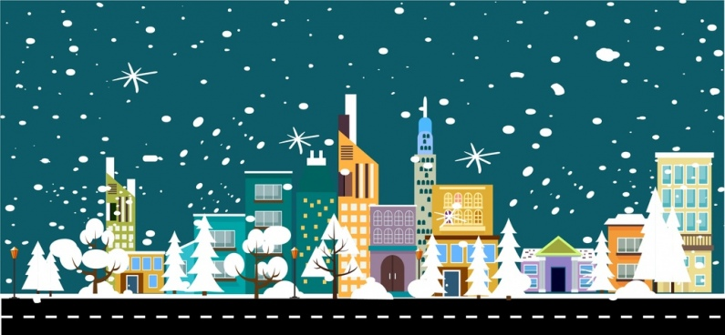 winter landscape theme snowy town decoration colored style