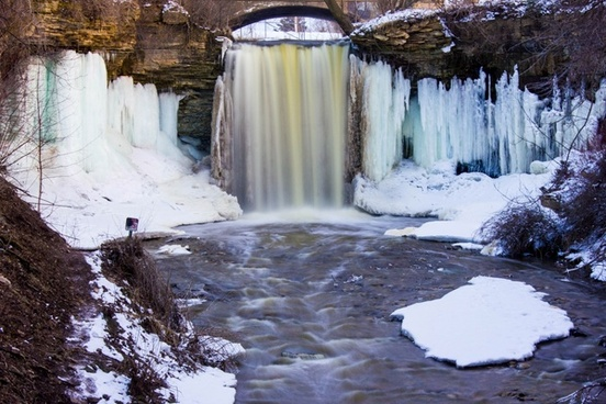 winter landscape view of wequiock falls wisconsin free stock photo