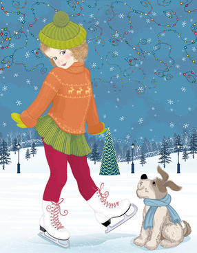 winter little girl and cute dog design vector