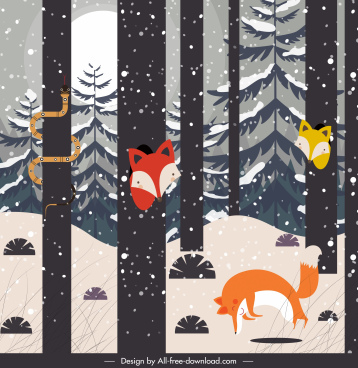 winter nature painting forest animals sketch cartoon design
