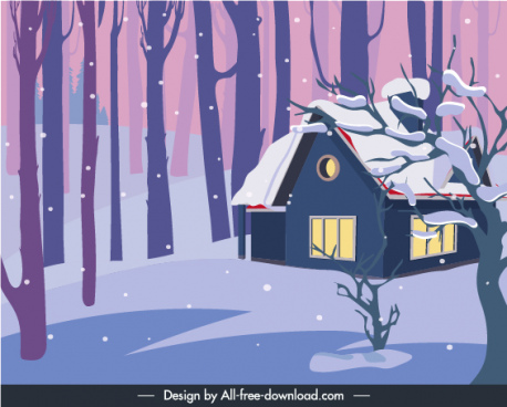 winter painting cottage snowy jungle sketch