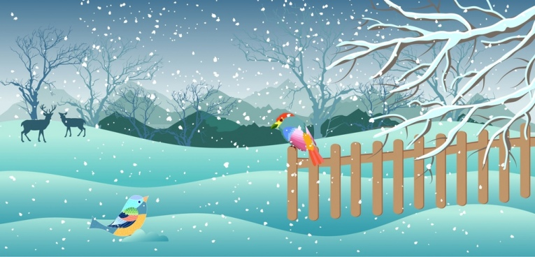 winter painting snowfall birds reindeer icons cartoon design