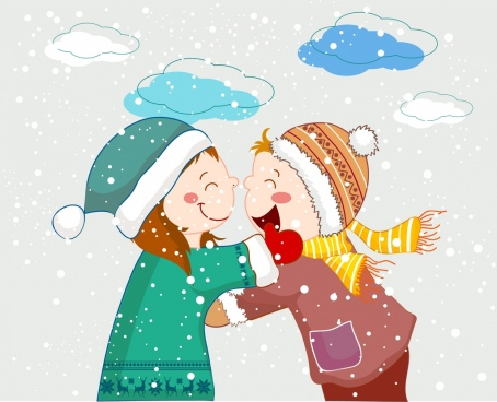 winter painting snowy weather female friends cartoon design