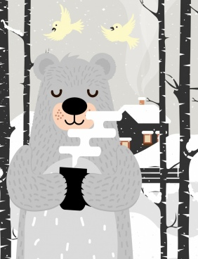 winter painting stylized bear snowfall icons cartoon design