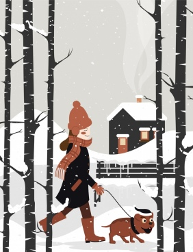 winter painting walking woman dog snowy landscape icons