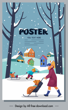 winter poster outdoor activities sketch cartoon design