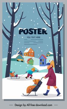 winter poster outdoor activities sketch cartoon design