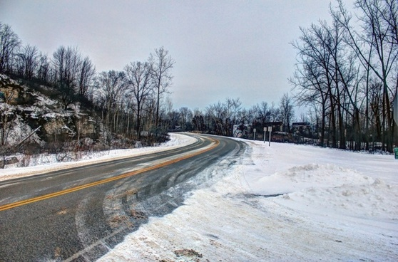 winter road in sturgeon bay wisconsin