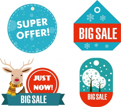 winter sale badges collection various shapes ornament