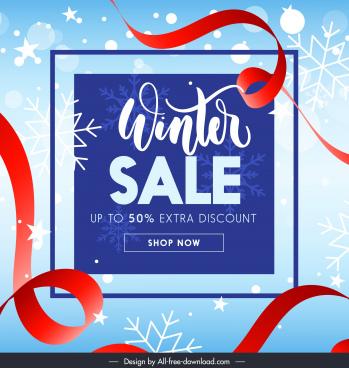 winter sale banner dynamic ribbon snowflakes decor