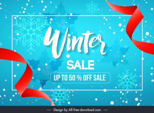 winter sale banner elegant ribbon snowflakes decor