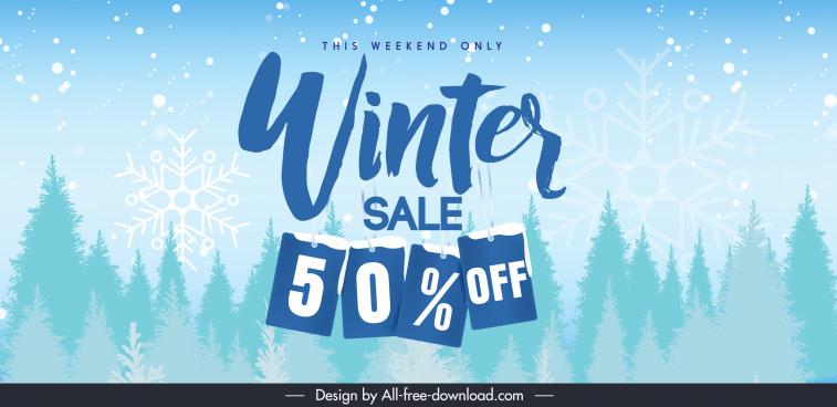 winter sale banner snowflake fir trees sketch