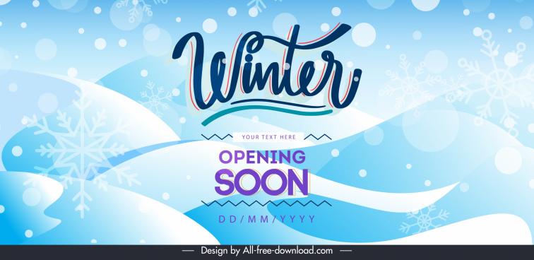 winter sale banner template bright blue snowflakes decor