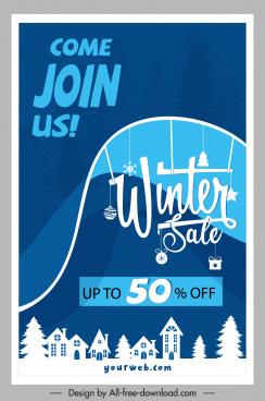 winter sale banner xmas elements decor 3d sketch