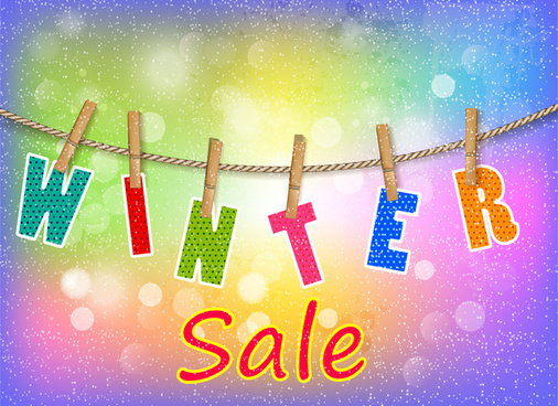 winter sale letter hanged on rope