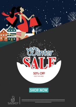 winter sale poster snowy outdoor decor webpage design