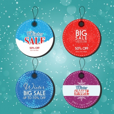 winter sale tags collection colorful round design