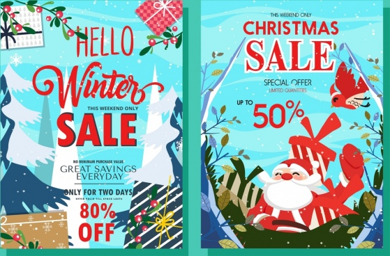 winter sales banner santa gift box icons decor
