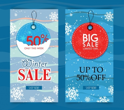 winter sales posters snowflakes tags decor vertical design