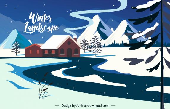 winter scene background cottage snowy mountain sketch