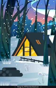 winter scene background forest cottage snowfall sketch