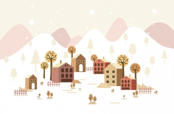 winter scene background houses tress white snow icons
