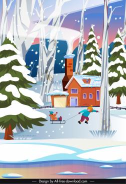 winter scene background playground kids sketch cartoon design
