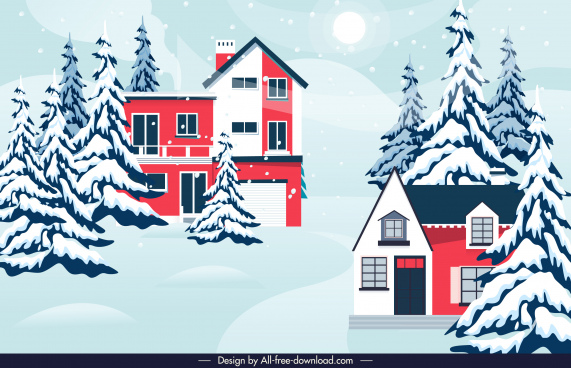 winter scene background snow fir trees houses sketch