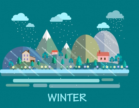 winter scene background snow house trees icons decor
