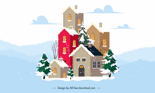 winter scene background snowy buildings sketch