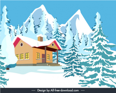 winter scene banner template snow mountain cottage sketch