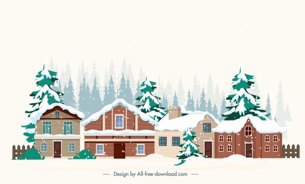 winter scene painting houses snow sketch
