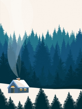 winter scene painting outdoor snowy landscape cartoon design