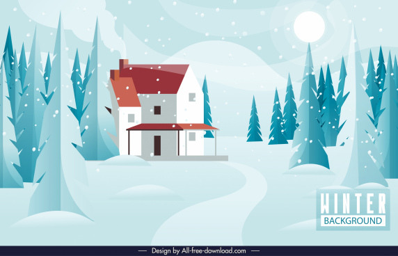 winter scenery background bright classic sketch