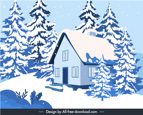 winter scenery background classical cottage snowy trees sketch