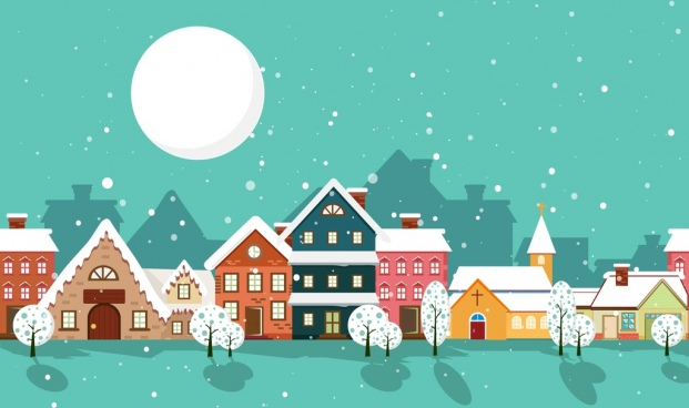 winter scenery background colorful houses under moonlight design