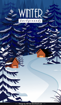 winter scenery background fir trees cottages sketch