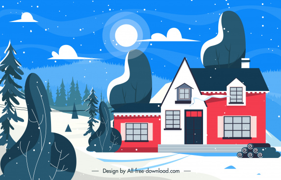 winter scenery background house exterior snow moonlight sketch