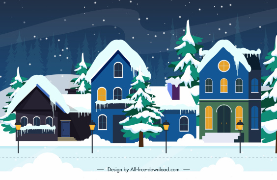 winter scenery background houses exterior snow sketch