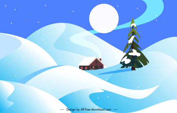 winter scenery background moon cottage snow land sketch