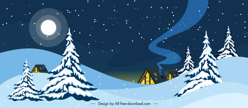 winter scenery background moon snowy cottage sketch